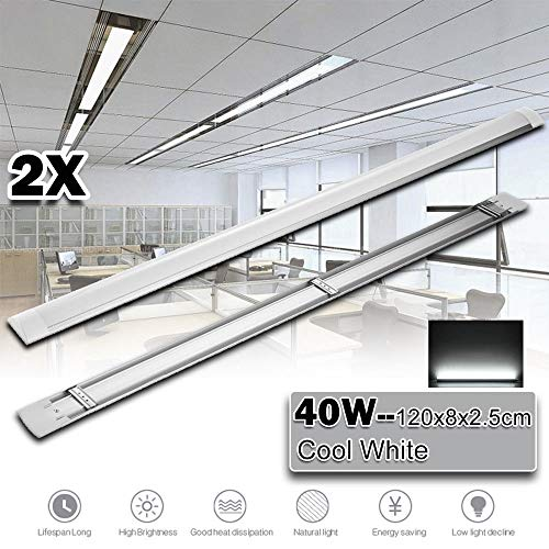 (Festnight 2 Pack 4FT LED Ceiling Light Batten Linear Tube Light Wraparound Garage Shop Lamp Flush Mount Linear Office Kitchen Fluorescent Tube Replacement 4800 Lumens Cool White 6000K Wrap Light)