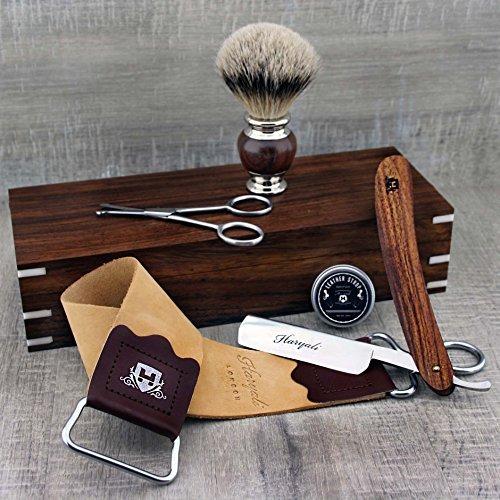 Classic Rosewood Men's Shaving Set ft Straight Razor, SilverTip Brush, Trimming Scissors, Leather Strop & Paste in Box by Haryali London