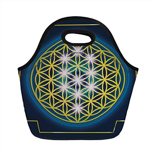 Van Internal (Abstract,Flower of Life in Internal Spirals with Vibrant Spots Belief Tradition Design Decorative,Indigo Yellow,for Kids Adult Thermal Insulated Tote Bags)