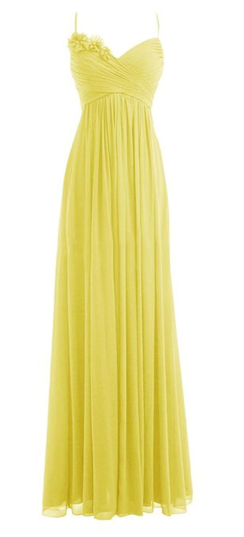 *Maillsa Chiffon Spaghetti Prom Dress Bridesmaid Dress Evening Dress with Flowers: Amazon.co.uk: Clothing