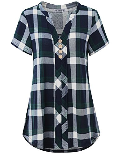 MOQIVGI Short Sleeve Tops for Women, Gingham Pattern Polyester Youth Blouse V Neck Pretty Multicolor Baggy Stretchy Scottish Buffalo Plaid Shirts Soft Comfort Tunics for Leggings Blue Green Large
