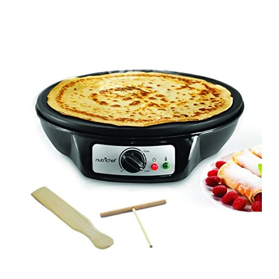 "NutriChef Electric Griddle & Crepe Maker | Nonstick 12 Inch Hot Plate Cooktop | Adjustable Temperature Control | Batter Spreader & Wooden Spatula | Used Also For Pancakes, Blintzes & Eggs (PCRM12.V7) 2 MAKE PERFECT CREPES: Concocting mouthwatering crepes and blintzes is simple with the Nutrichef Electric Griddle The 12"" inch cooking diameter is perfect for cooking traditional crepes VERSATILE COOKING TOOL: In addition to crepes, this griddle is great for making all your breakfast favorites Whip up evenly cooked pancakes, blintzes, eggs & bacon for the whole family COMPACT & CONVENIENT DESIGN: This electric hot plate is small enough to make storage & travel simple Safe for any countertop, kitchen top & table top"