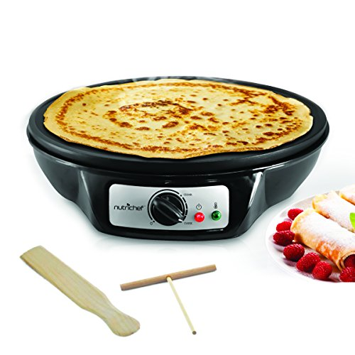 NutriChef Electric Griddle & Crepe Maker | Nonstick 12 Inch Hot Plate Cooktop | Adjustable Temperature Control | Batter Spreader & Wooden Spatula | Used Also For Pancakes, Blintzes & Eggs (PCRM12.V7) by NutriChef (Image #1)