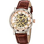 GuTe Steampunk Bling Skeleton Mechanical Hand-wind Wristwatch Silver Rose-gold Case 9