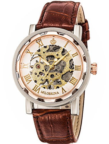 GuTe Steampunk Bling Skeleton Mechanical Hand-wind Wristwatch Silver Rose-gold Case 3