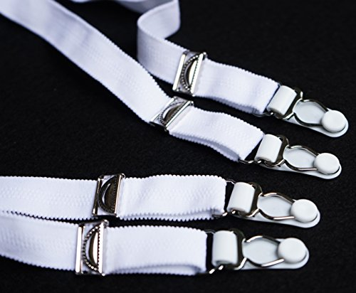 f022592250c TVRtyle Women s Pure White Sexy 4 Vintage Wide Straps Metal Clips Garter  Belts for Stockings S502W