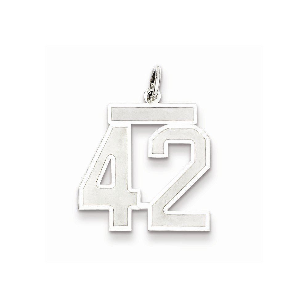 18mm x 22mm Solid 925 Sterling Silver Medium Satin Number 42