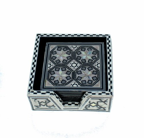 Coaster Pearl - Arts of Egypt- Elegant Egyptian Inlaid Mother of Pearl 6 Coaster set with Holder
