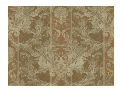 YORK GL4728 Brandywine Aidi Damask Stripe Wallpaper, Bron...