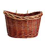 Zaote Front Handlebar Wicker Bike Basket Willow Basket Bicycle Basket