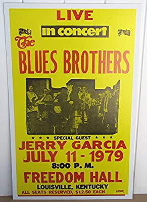 Vintage Blues Brothers Concert Poster Jerry Garcia 1979 Louisville, Kentucky