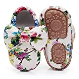 HONGTEYA Baby Moccasins with Rubber Sole - Flower Print PU Leather Tassel Bow Girls Ballet Dress Shoes for Toddler (Toddler/2-3 Years/US 9.5/6.29'', Bow&Flower)