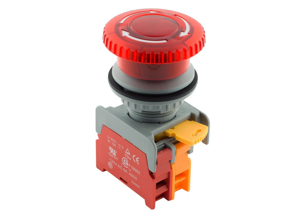 Alpinetech MBL30 Red 30mm 1NC Emergency Stop Push Button Switch Estop EPO Mushroom Switch 120V AC/DC LED Illuminated