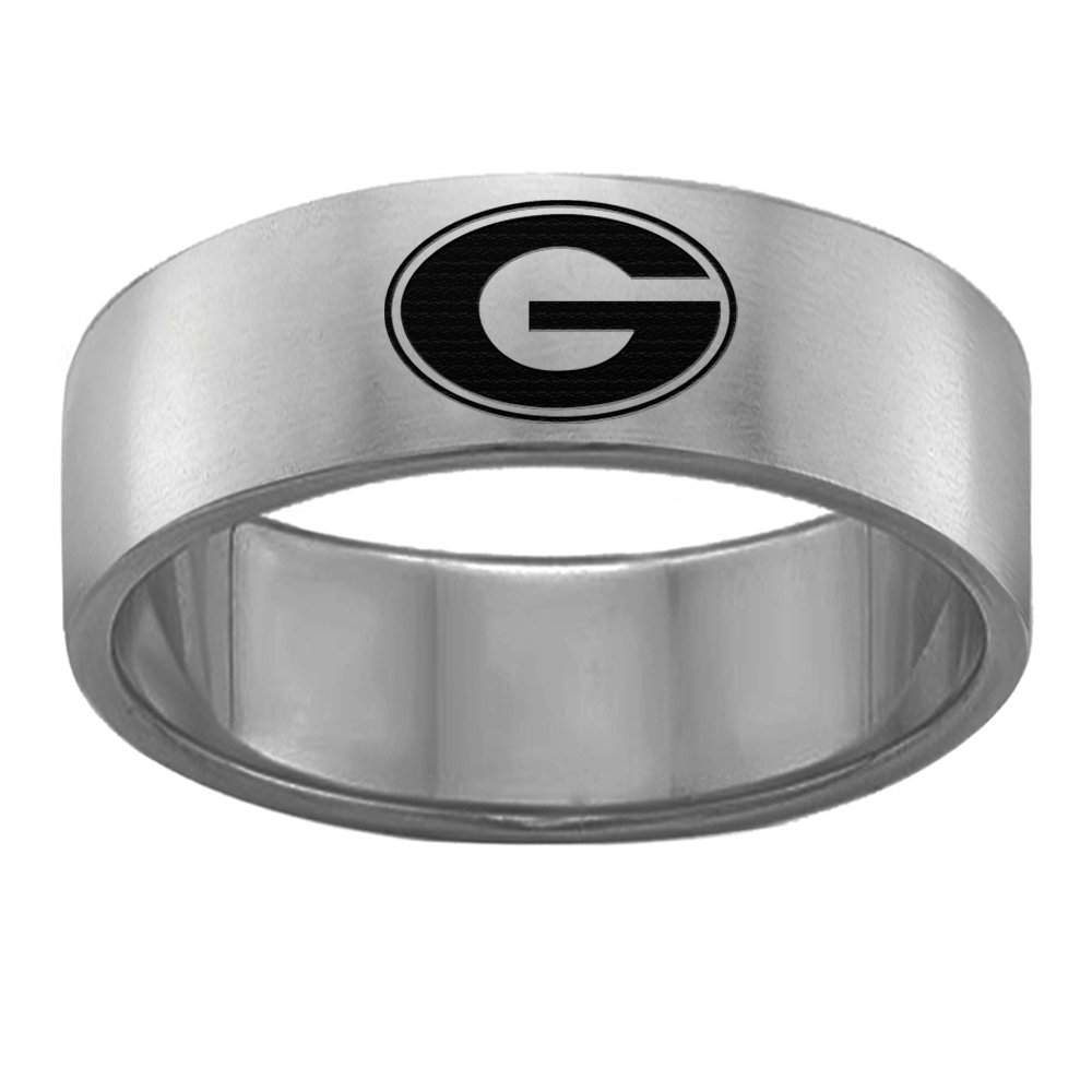 Georgia Bulldogs Rings Stainless Steel 8MM Wide Ring Band - Single Logo Style (10)