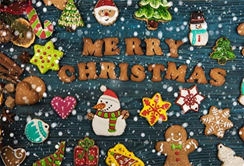 Yeele 7x5ft Christmas Photo Backdrop Gingerbreads Cookie Pastry Biscuit Snowflake Snowman Cane Candy Background for Photography Color Wooden Board Children Adult Family Booth Shoot Vinyl Props