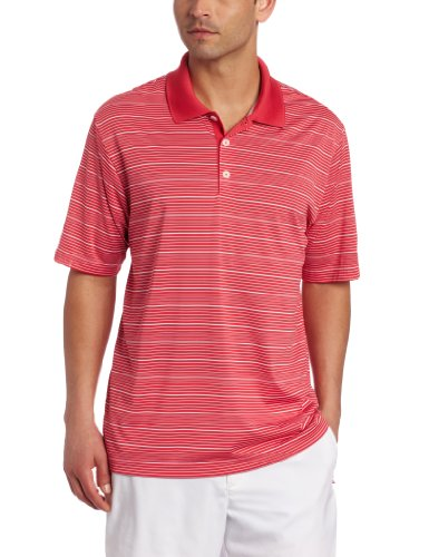adidas Golf Men's's Climacool Diagonal Textured Solid Polo, Punch/White, Medium ()