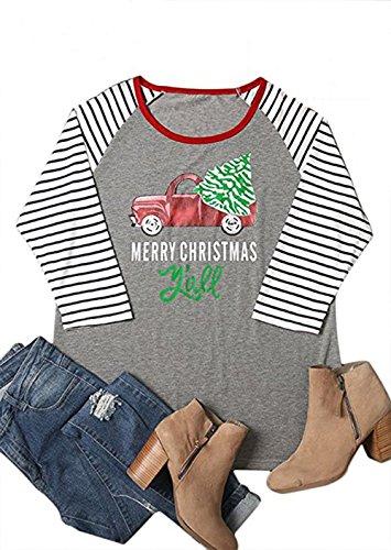 (Eiffel Direct Women's Christmas Striped Stitching Raglan Sleeve Baseball T-Shirt Tops)