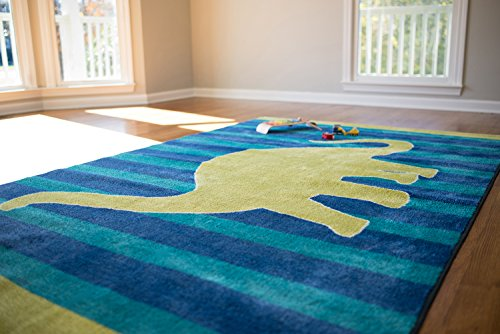 Mohawk Home Aurora Friendly Dinosaur Striped Kids Area Rug, 5' x 8', Blue by Mohawk Home
