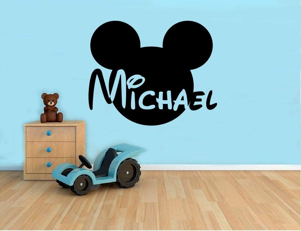 Place Custom Name Mickey Mouse Wall Decal - Disney Cartoon Vinyl Sticker Personalized Decals Home Decor Housewares - Removable Decor Wall Art Made in USA - 22x35 Inch