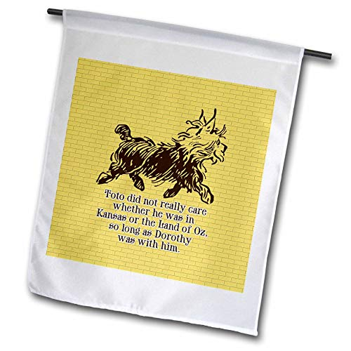 - 3dRose Russ Billington Designs- Wonderful Wizard of Oz - Cute Toto Illustration in Brown Over Yellow Brick Road Background - 12 x 18 inch Garden Flag (fl_302301_1)