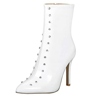16ca456e446e YE Chaussure Botte Courte Ankle Boots Bottine Lacet Femme Sexy Vernis  Strass Pointue High Heels Stiletto