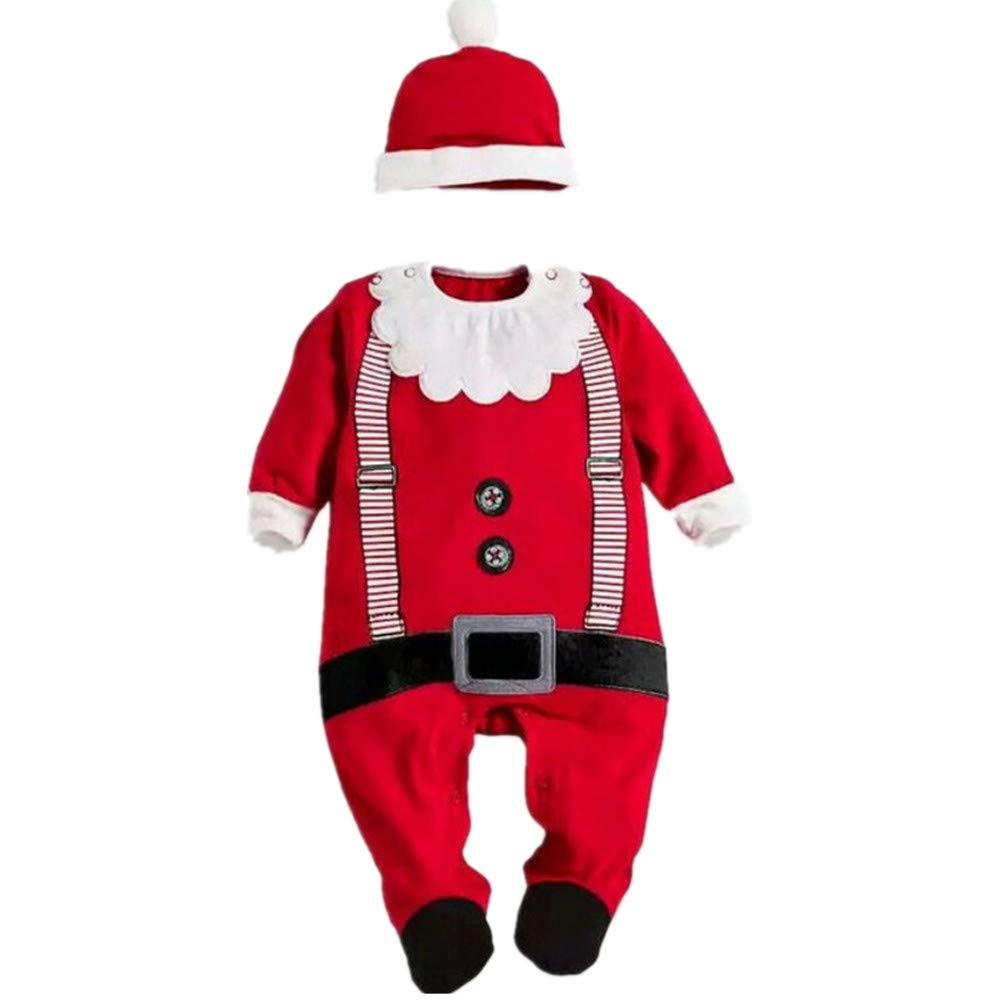 Toddler Baby Girls Boy Santa Claus Costume Christmas Romper + Hat Set Jumpsuit Pajamas Outfits Long Sleeve Tops Newborn Gifts 6-24 Months
