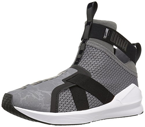 (PUMA Women's Fierce Strap WN's Cross-Trainer Shoe, Quiet Shade White Black, 6.5 M)