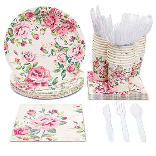 Floral Party Plates - Blue Panda Disposable Dinnerware Set - Serves 24 - Vintage Floral Party Supplies for Birthdays, Bridal Showers, Weddings - Includes Plastic Knives, Spoons, Forks, Paper Plates, Napkins, Cups