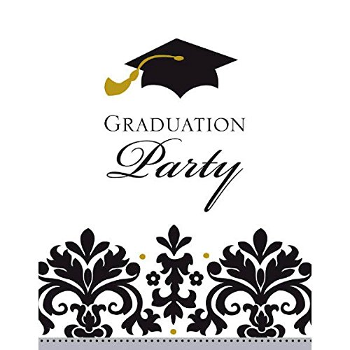 Black and White Grad Postcard Invitations | Party Favor | Pack of 50 ()