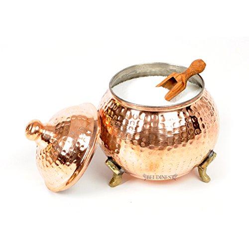 Handmade Hand Hammered Copper Round Sugar Bowl (Large)