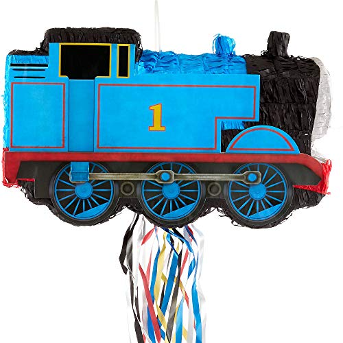 Ya Otta Pinata Pull String Thomas the Tank Engine Train Pinata, Birthday Party, 2lb Filler Capacity, 6 x 18 x 11 Inches