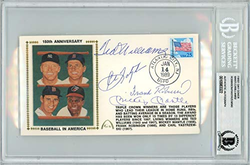 (Mickey Mantle, Ted Williams, Frank Robinson & Carl Yastrzemski Autographed First Day Cover Triple Crown Winners Beckett BAS #10983322 - Beckett Authentication)