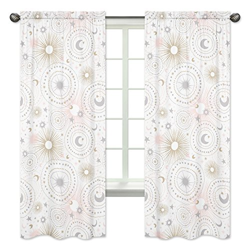 - Blush Pink, Gold, Grey and White Star and Moon Window Treatment Panels Curtains for Celestial Collection by Sweet Jojo Designs - Set of 2