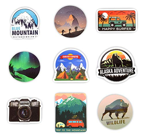 50 PCS Camping Landscape Stickers Outdoor Adventure Climbing Travel Waterproof Sticker to DIY Suitcase Laptop Bicycle Helmet Car