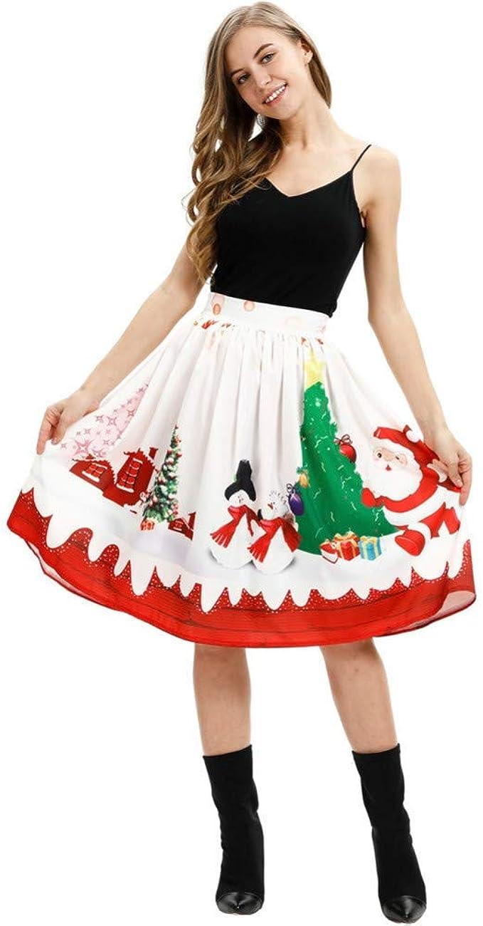 GYYWAN Falda De Navidad con Estampado 3D para Mujer Falda ...