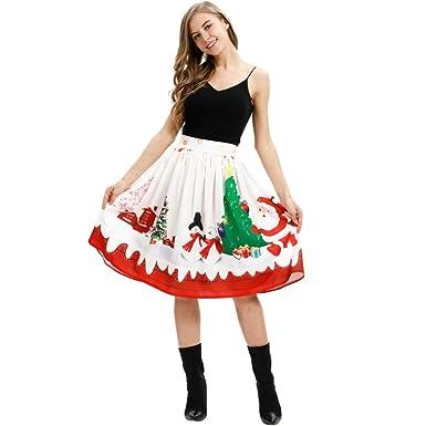GYYWAN Falda De Navidad con Estampado 3D para Mujer Falda Colorida ...