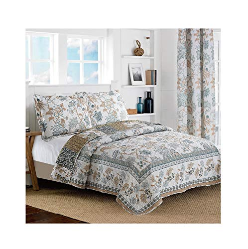 All American Collection New Reversible 2pc Floral Printed Blue/White Bedspread/Quilt Set (Twin Size)