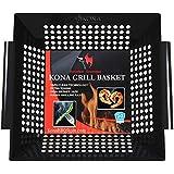 Kona Best Vegetable Grill Basket - Safe/Clean Porcelain Enameled BBQ Grilling Basket for Veggies, Kabobs, Seafood, Meats - 10 Year Guarantee