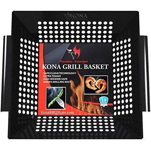 Non Grill Stick Basket - Kona Best Vegetable Grill Basket - Safe/Clean Porcelain Enameled BBQ Grilling Basket (Large 12x12x3 inches) for Veggies, Kabobs, Seafood, Meats