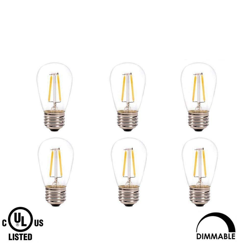 Makergroup UL Listed S14 Dimmable Bistro 2W E26 LED Bulb Vintage Antique Filament Bulbs, Perfect for Outdoor Indoor String Light,Christmas Light,Holiday Light,Bistro Light,Decorative Light (6-Pack)