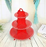 Sevenpring Peculiar Design Paper Cartoon Birthday Party Cake Rack Party Dessert Tray (Red Small Round Dots)