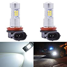 KaTur Super Bright H11 H8 DRL Fog Light Replacement 2835 21SMD Led Car Driving Daytime Running Lights Xenon White 6000K DC 12V 80W 2-Pack