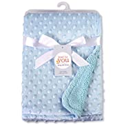 BYLOV Cuddle Fleece Blanket Unisex Children's Soft Baby Blanket Minky Dot White/Pink/Blue (White)