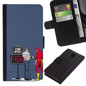 NEECELL GIFT forCITY // Billetera de cuero Caso Cubierta de protección Carcasa / Leather Wallet Case for Samsung Galaxy Note 3 III // Divertido Perno Superhero flash