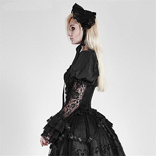 Camiseta larga de la manga del cord¨®n del collar lateral de las mujeres g¨®ticas Camisetas largas de la manga de la manga de Lolita punky, XL