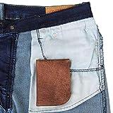 Slim Front Pocket Wallet by Saltrek | USA Designed, RFID Blocking Top Grain Leather Billfold, Rugged Brown Leather Ergonomic Wallet