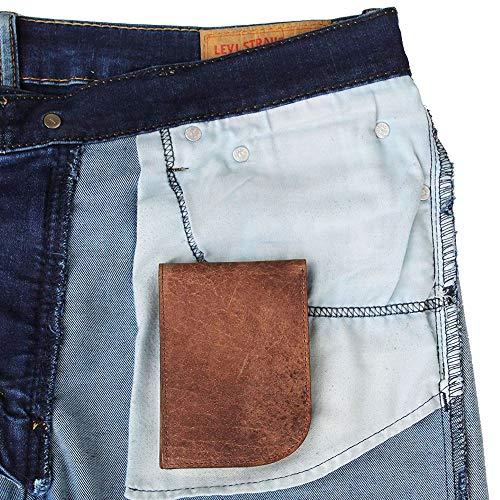 - Slim Front Pocket Wallet by Saltrek | USA Designed, RFID Blocking Top Grain Leather Billfold, Rugged Brown Leather Ergonomic Wallet