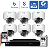 GW 8 Channel 4K NVR 5MP Video Security Camera System - Six 5MP 1920P Weatherproof 2.8-12mm Varifocal Dome Cameras, 80ft IR Night Vision, Realtime Recording 1080p @ 30fps, Pre-Installed 2TB HDD