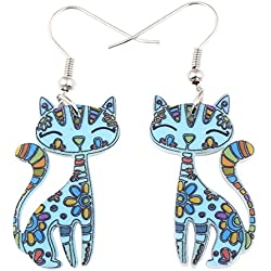 Bonsny Acrylic Drop Cat Earrings Pets Funny Design Dangle Lovely Gift For Girl Women (Blue)