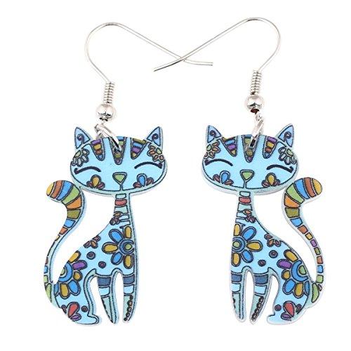 Bonsny Acrylic Drop Cat Earrings Pets Funny Design Dangle Lovely Gift For Girl Women (Blue)